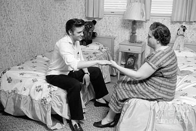 Musicians Photo Rights Managed Images - Elvis Presley and his mother Gladys 1956 Royalty-Free Image by The Harrington Collection