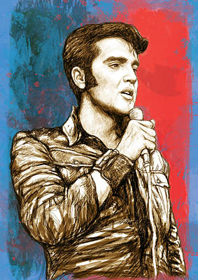 Rock And Roll Drawing - Elvis Presley - Modern Art Drawing Poster by Kim Wang