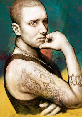Hop Drawing - Eminem - Stylised Drawing Art Poster by Kim Wang