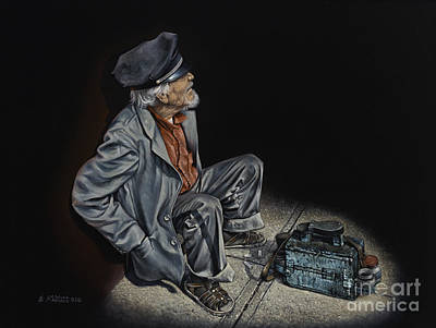 Folk Realism Painting - Empty Pockets by Ricardo Chavez-Mendez