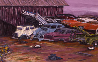 Junk Yard Painting - End Of The Road by Paul Skelley
