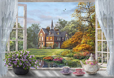 Villa Digital Art - English Garden by Dominic Davison