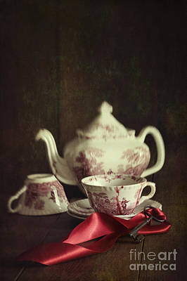 Photograph - English Tea Set With Key And Red Satin Ribbon by Sandra Cunningham