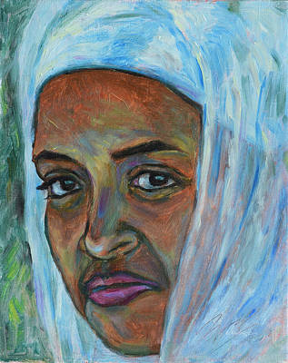 Art Print featuring the painting Ethiopian Lady by Xueling Zou
