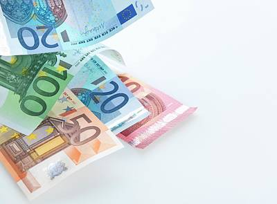 Large Group Of Objects Photograph - Euro Banknotes by Tek Image