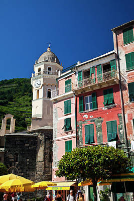 Europe Italy Vernazza City And Church Art Print by Terry Eggers