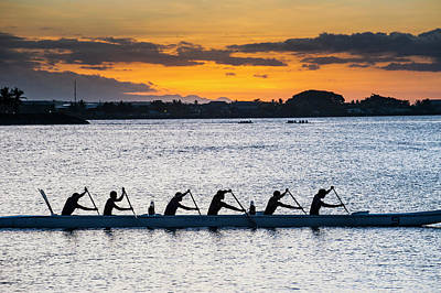 Rowing Photograph - Evening Rowing In The Bay Of Apia by Michael Runkel