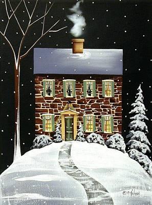 Evergreen Cottage Art Print by Catherine Holman