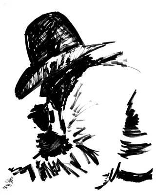 Sethweaver Drawing - Exhausted Cowboy by Seth Weaver