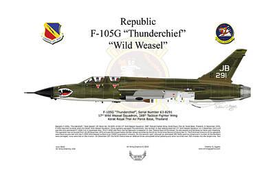F-105g Thunderchief Wild Weasel Art Print by Arthur Eggers
