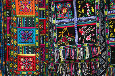 Fabric Items For Sale, Dali, Yunnan Art Print by Panoramic Images