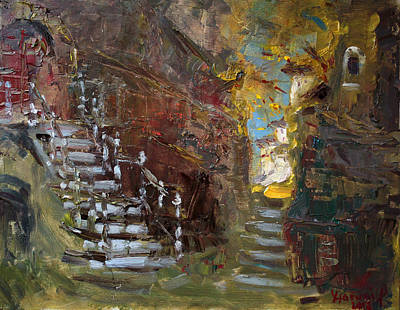 Alley Painting - Fall In Albanian Village  by Ylli Haruni