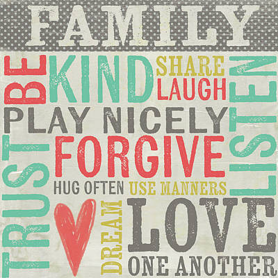 Inspirational Painting - Family Rules by Katie Doucette