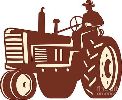 Farmer Driving Vintage Tractor Retro Art Print by Aloysius Patrimonio