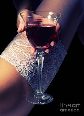 Woman Underwear Photograph - Feet With Wine by Aleksey Tugolukov