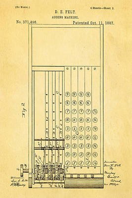 1887 Photograph - Felt Adding Machine Patent Art 1887 by Ian Monk