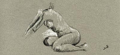 Female Nude Study Art Print by Juan  Bosco