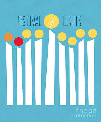 Modern Jewish Mixed Media - Festival Of Lights by Linda Woods