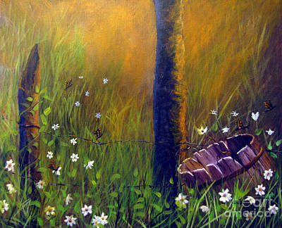 Golden Vines Painting - Field Of Butterflies by Sharon Burger