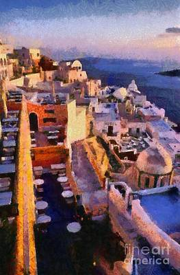 Painting - Fira City During Sunset by George Atsametakis