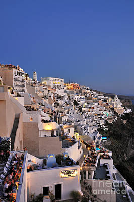 Photograph - Fira Town During Dusk Time by George Atsametakis