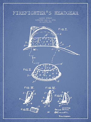 Drawing - Firefighter Headgear Patent Drawing From 1926 by Aged Pixel