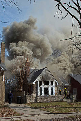 North American Photograph - Firefighters Attending A House Fire by Jim West