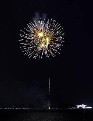 Fireworks Shell Burst Over The St Petersburg Pier Art Print by Jay Droggitis