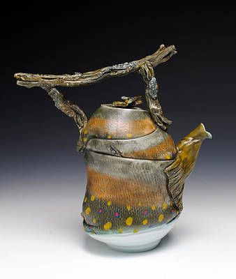 A Fish Out Of Water Sculpture - Fish Teapot by Mark Chuck