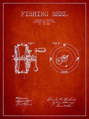 Reel Digital Art - Fishing Reel Patent From 1874 by Aged Pixel