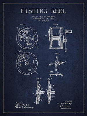 Fishing Reel Patent From 1896 Art Print by Aged Pixel