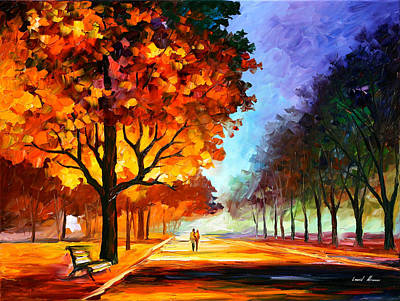 Park Scene Painting - Flaming Night by Leonid Afremov