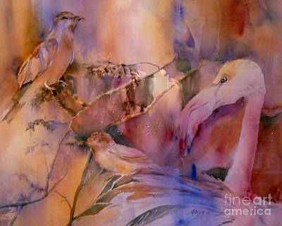 Painting - Flamingo And Other Birds by Donna Acheson-Juillet