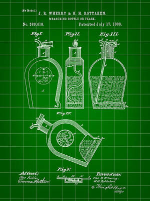 Flask Patent 1888 - Green Art Print by Stephen Younts