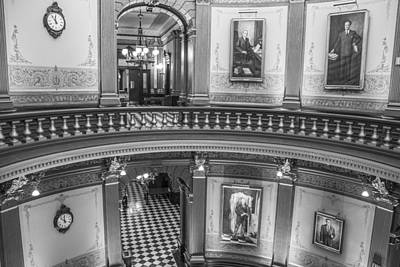 Photograph - 2 Floors Black And White Michigan State Capitol  by John McGraw