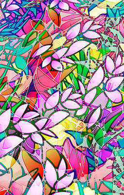 Floral Abstract Stained Glass Original