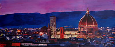 Florence Skyline Italy With Santa Maria Del Fiore Art Print