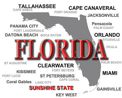 Florida State Pride Map Silhouette  Art Print by Keith Webber Jr