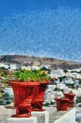 Painting - Flowerpots In Sifnos Island by George Atsametakis
