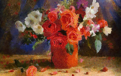 Art Print featuring the painting Flowers by Georgi Dimitrov