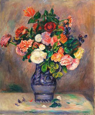 Flowers In A Vase Renoir Painting - Flowers In A Vase by Pierre-Auguste Renoir