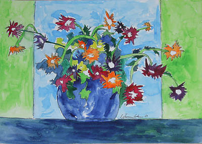 Painting - Flowers In Green And Blue by Esther Newman-Cohen
