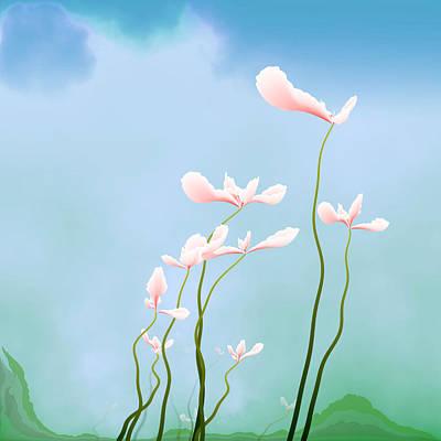 Flowers Of Peace Art Print by GuoJun Pan
