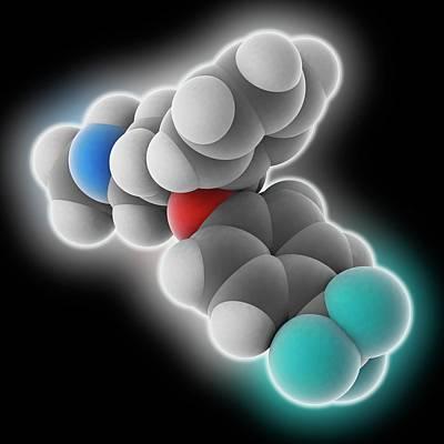 Prozac Photograph - Fluoxetine Drug Molecule by Laguna Design