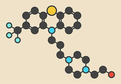 Psychiatry Photograph - Fluphenazine Antipsychotic Drug Molecule by Molekuul