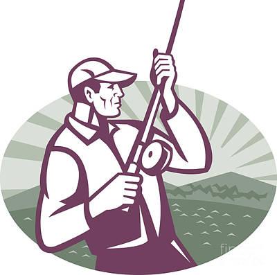 From The Kitchen - Fly Fisherman Fishing Retro Woodcut by Aloysius Patrimonio