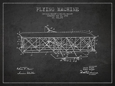 Airplane Drawing - Flying Machine Patent Drawing From 1906 by Aged Pixel