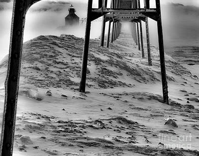 Photograph - Fogged In And Frozen At North Pier by Jim Rossol