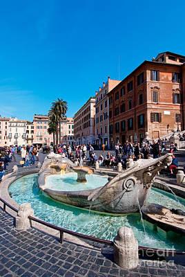 Photograph - Fontanna Della Barcaccia At Piazza Di Spagna by George Atsametakis