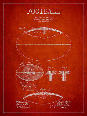 Sports Royalty-Free and Rights-Managed Images - Football Patent Drawing from 1903 by Aged Pixel